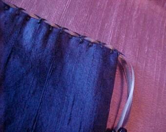 "Silk Tarot Bag, Gift Bag, Blue Silk, 6.5"" X 5.5"", Cotton Lining, Sturdy Drawstring Pouch, Ready To Ship, Treasure Bag, Medicine Pouch."