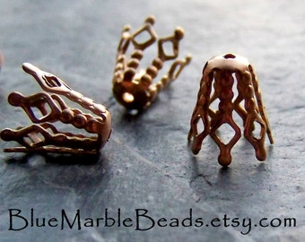 Filigree Bead Caps, Brass Bead Caps, Bead Cones, Bendable, Brass Finding, Vintage Finding, 20 Pieces