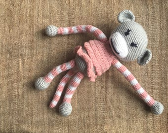 Amigurumi monkey Baby Toy - organic cotton - pink, grey and white - eco friendly toy - new baby shower gift, soft toy, baby gift, handmade