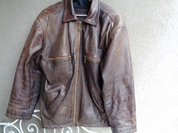 Brown leather jacket ,Men leather jacket ANGELO LITRICO, Leather jacket vintage 90's,