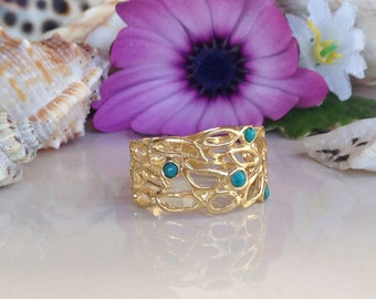 20% off- SALE! Turquoise Ring - Desember Birthstone - Filigree Ring - Gold Ring - Genuine Gemstone Band - Turquoise Jewelry - Everyday Ring