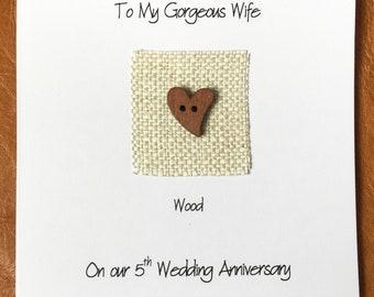 5th Anniversary Card Wood Anniversary Linen Anniversary Wood Heart Husband Wife Him Her