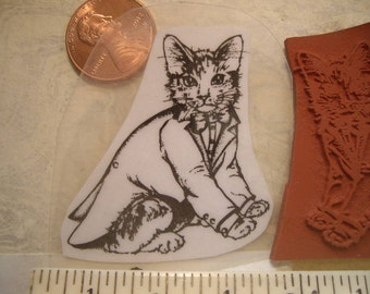 tuxedo cat coat and tie facing right  rubber stamp un-mounted scrapbooking rubber stamping