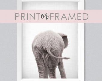 Lil' Darlings 11x14 Elephant Bum Print | Cute | Woodland Animals | Farm Animals | Zoo Animals | Black + White | Photography | Modern Nursery