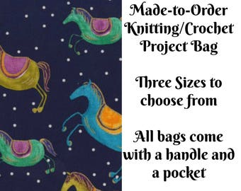 Spirit Riders in Midnite, Horse Knitting Project Bag, Large Project Bag, Drawstring, Zippered, Sock Sack, Yarn Tote, Sock Project