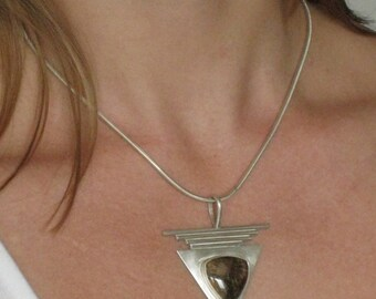 Eyes in a triangle- Unique parure Sterling Silver - Original Handfabricated