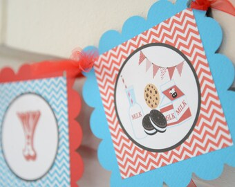 Milk and cookies banner , milk & cookies, milk and cookies party happy birthday banner, cookies, milk red brown