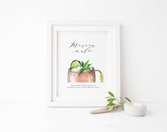 Printable Wedding Moscow Mule Sign, Wedding Signature Drink Sign, Wedding Drawing Sign, Watercolor Moscow Mule Sign, Signature Cocktail Sign