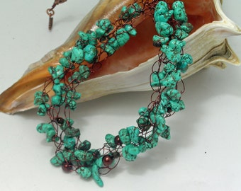 Blue Magnesite Chip Crocheted Necklace