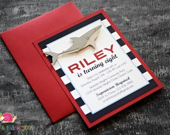 Great White Shark Birthday Party Invitation · STRIPED A2 LAYERED · Red and Navy · Baby Shower   Pool Party   Summer