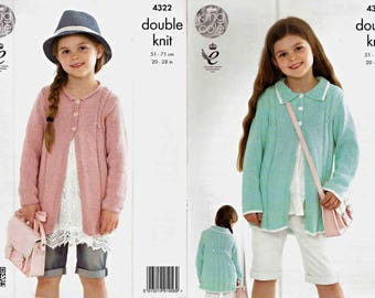 King Cole Knitting Pattern 4322~Girls' Coats~DK~20-28""