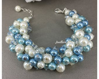 Dusty Blue Bracelet Bridesmaid Jewelry Maid of Honor Gift for Her Dusty Blue Jewelry Summer Wedding Chunky Bracelet  Gifts