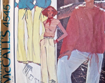 DDDominick 1970's McCall's 4545 Vintage Sewing Pattern Misses' and Mens' Hooded Pullover Top and Pants  Size 8 Bust 31.5