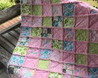 Pink Cotton Rag Quilt Handmade, Soft and Cuddly