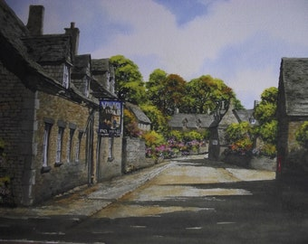 Original Watercolour Painting of The Village Inn Barnsley Cotswold English Village