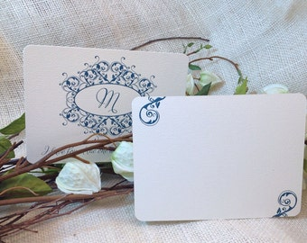 Teal Monogram Wedding Thank You Notecard with A2 Envelope