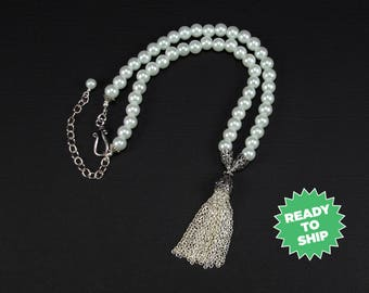 Queen Anne's Tassel Necklace, Pearl necklace, Antique Silver, Renaissance necklace, Medieval necklace, Tudor necklace, cosplay (1194jn)