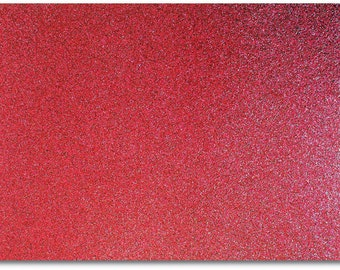 2 x A4 sheets of Premium Dovecraft Deep Red Glitter Card 220 gsm