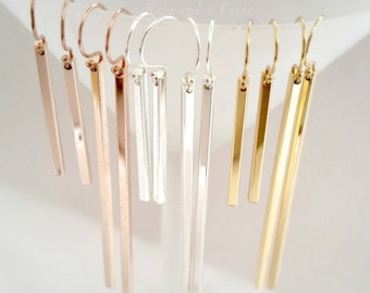 Gold bar Earrings | Silver bar Rose Gold bar earrings | Long earrings | Minimalist | Stick Bar Earrings | dangle earrings