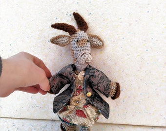 """Amigurumi goat """"Janine"""" biquette colorful hair, dressed in a spring spirit with sweetness"""