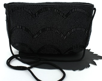 Black Fully Beaded Purse with Long Strap