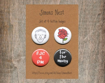 Jeremy Corbyn Labour Party Badge Set - 4 Jeremy Corbyn Labour Party - Red Rose - For The Many - #jc4pm - 25mm Button Pin Badges