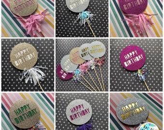 Happy birthday pom pom cake topper rainbow colours glitter card