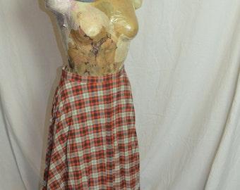 Womens Vintage Red Plaid Tartan Skirt