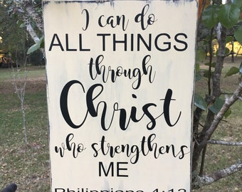 I can do all things Bible verse / scripture wood sign, Philippians 4:13