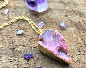 Rosa lila Druzy Pfeilspitze rohen Halskette Gold Quarz Punkt Charms-Anhänger heilende Kristall metaphysischen Reiki-New-Age-Böhmisch