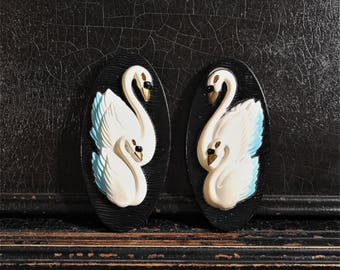 Vintage Swan Wall Decor | Chalkware | Wall Plaques | Set of 2 | 7""