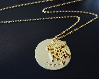 Gold Plated RN Registered Nurse Handstamped Medical Caduceus Graduation Pinning Ceremony Gift Necklace