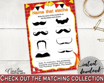 Name That Stache Baby Shower Name That Stache Fireman Baby Shower Name That Stache Red Yellow Baby Shower Fireman Name That Stache - LUWX6