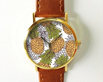 Pineapple Watch  , Vintage Style Leather Watch, Women Watches, Boyfriend Watch, Men's watch, Yellow Green, Freeforme 2015
