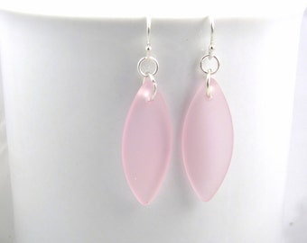 Pink earrings sea glass ear rings pale pink sea glass  jewelry  earrings-bridesmaid earrings- leaf  earrings