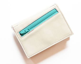 Leather Wallet Woman, Minimalist Wallet with Zip Pocket, Ladies Trifold Wallet for Small Purse, Coin Pocket Wallet - The Frances in Cream