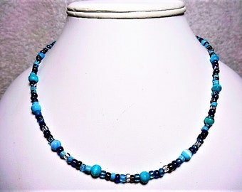 Blues Beaded Necklace With A Silver Toggle Clasp - Item 907 N