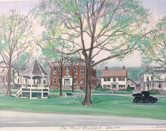 New Milford Green, beautiful summer scene of northwest Connecticut town, framable art