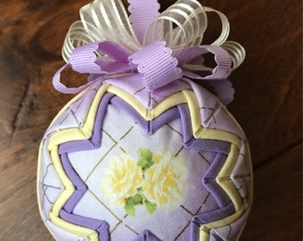 A Rose Is A Rose fabric quilted Mothers Day ornament