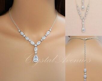 Back drop Bridal Necklace, Rose Gold Wedding necklace, Gold Bridal Jewelry, Bridal Earrings, Bridal Bracelet, Marisa Jewelry Set