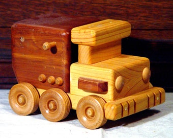 Toy Truck Wooden Handmade Preschool Plaything Home Decor 1970s