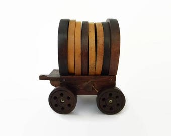 Vintage Wagon Coasters Wood and Cork, Conestoga Style, Set of 6, from 1980s