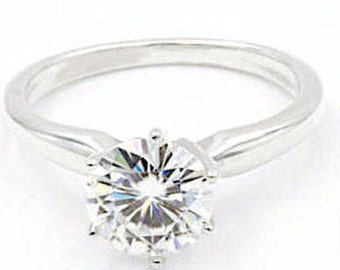 1.25 Ct Solitaire Diamond Moissanite Engagement Ring, Size 6, 925 Sterling Silver, Round Cut (687)
