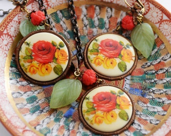 Floral Necklace Earrings Set, Red Rose Jewelry Set, Colorful Floral Accessory, Rose Garden Necklace, Vintage German Cabochons, Rose Earrings