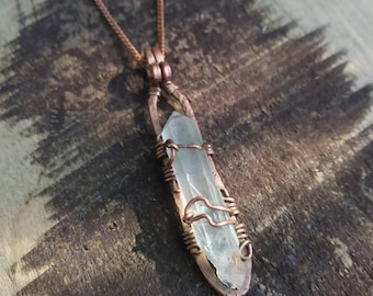 Beacon - Quartz on Hammered Copper, Necklace
