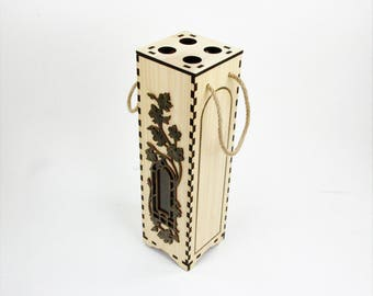 Windowed Wine Box with cork storage