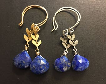 MADE by MAGGIE - Luxe Collection - GEMSTONE edition - Lapis Luzuli and chevron drop earrings - in gold or silver