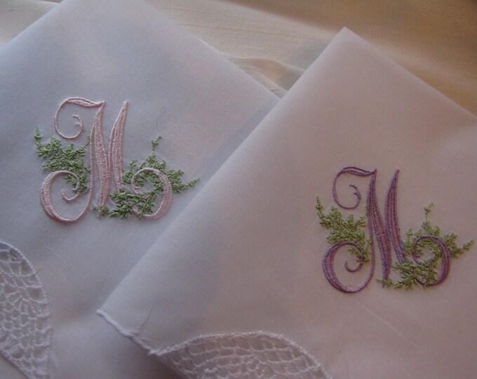 Monogrammed Handkerchief - Understated Elegance with Single Monogram Wedding Hankie, Hanky, Something Blue