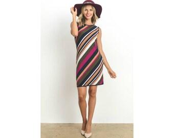 Bias Striped Sleeveless Sheath Career Work Dress