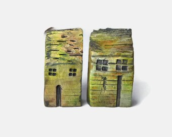 Miniature Houses, Rustic House Set, Rustic Beach House, Hand Sculpted Clay House, Rustic Decor,  House Set, Gift Item